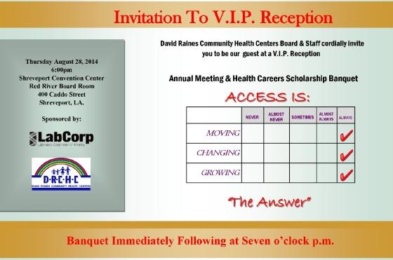 VIPreception and banquet invitation postcard
