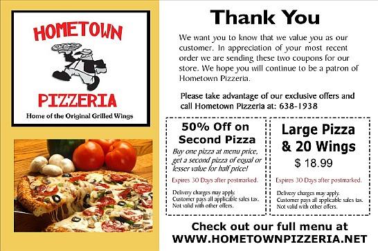 hometown Pizzeria coupon postcard
