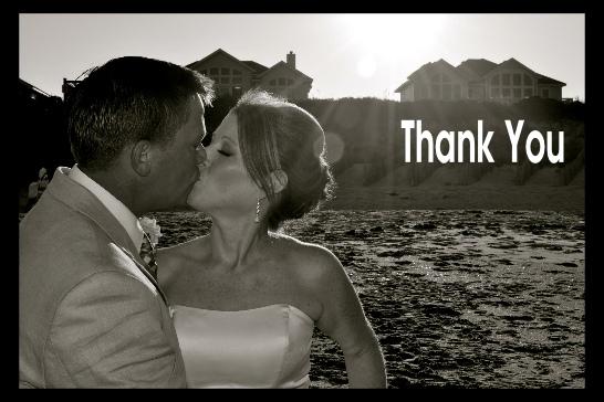 wedding kiss thank you postcard