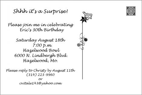 30th birthday party invitation postcard back