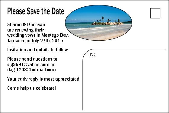 Destination Wedding Save The Date postcard back