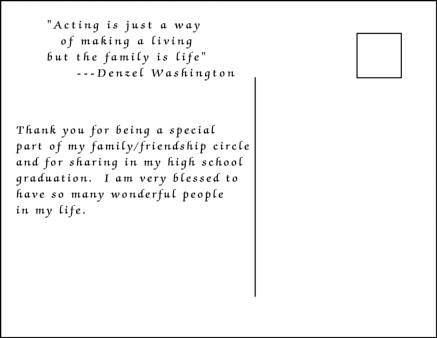 girl high school graduation thank you postcard wording