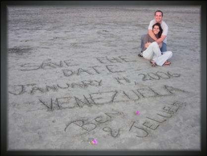 sand writing wedding save the date postcard