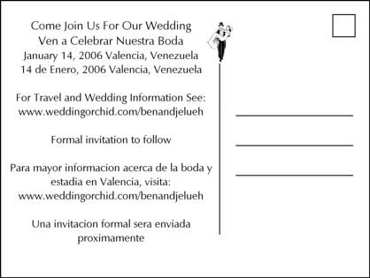 sand writing wedding save the date postcard backside